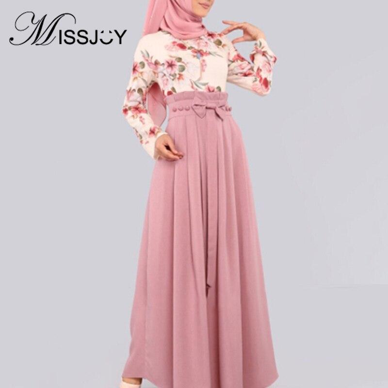 MISSJOY Muslim Abaya Women Dress 2019 Fashion Flowers Printed High Waist Bow Dubai Turkish Casual Kimono Femme Robe Long Sleeves