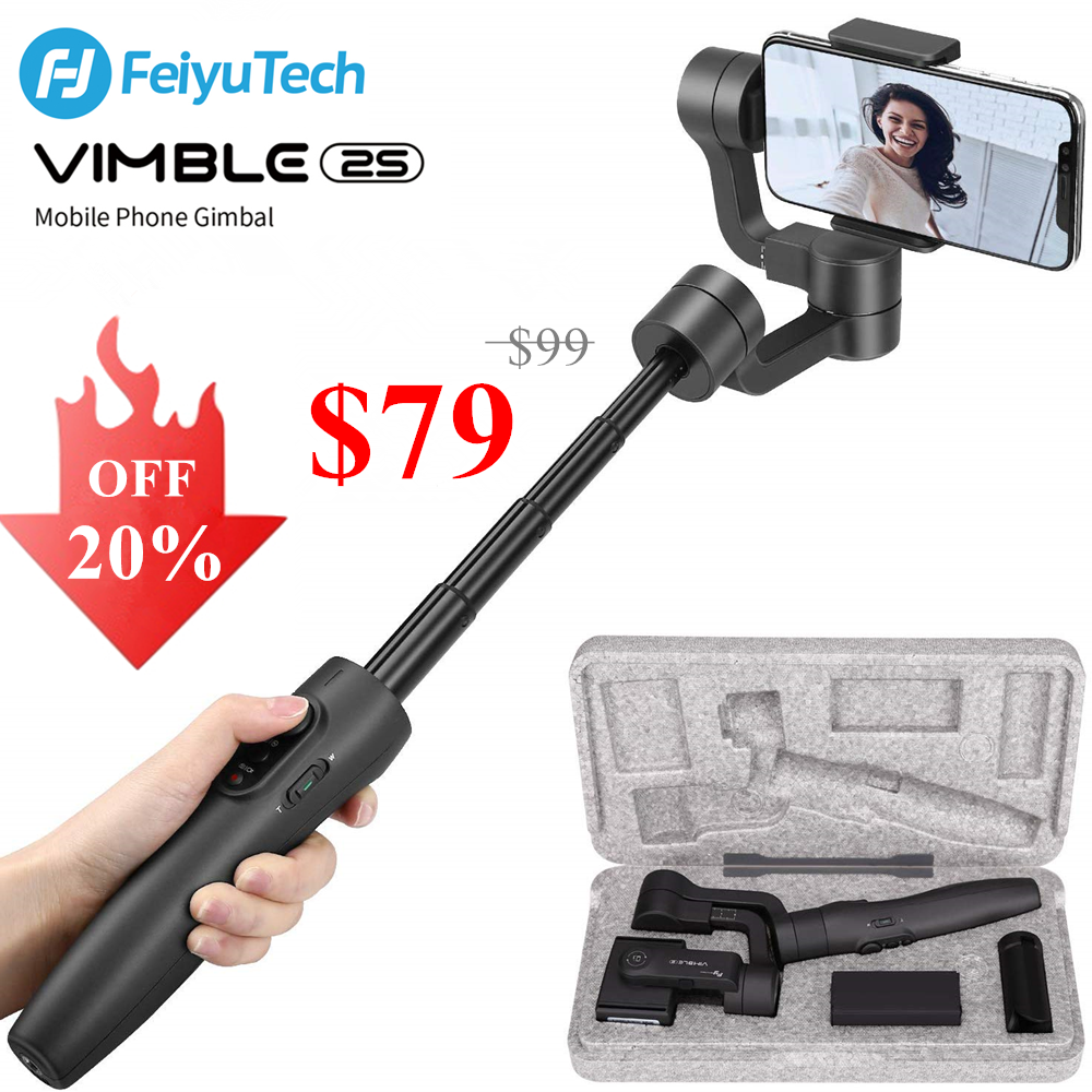 Used Feiyu Vimble 2S 3-Axis Smartphone Gimbal Handheld Stabilizer 180mm Extendable Pole Tripod for iPhone 11 X Xs 8,Samsung S9S8 - ANKUX Tech Co., Ltd