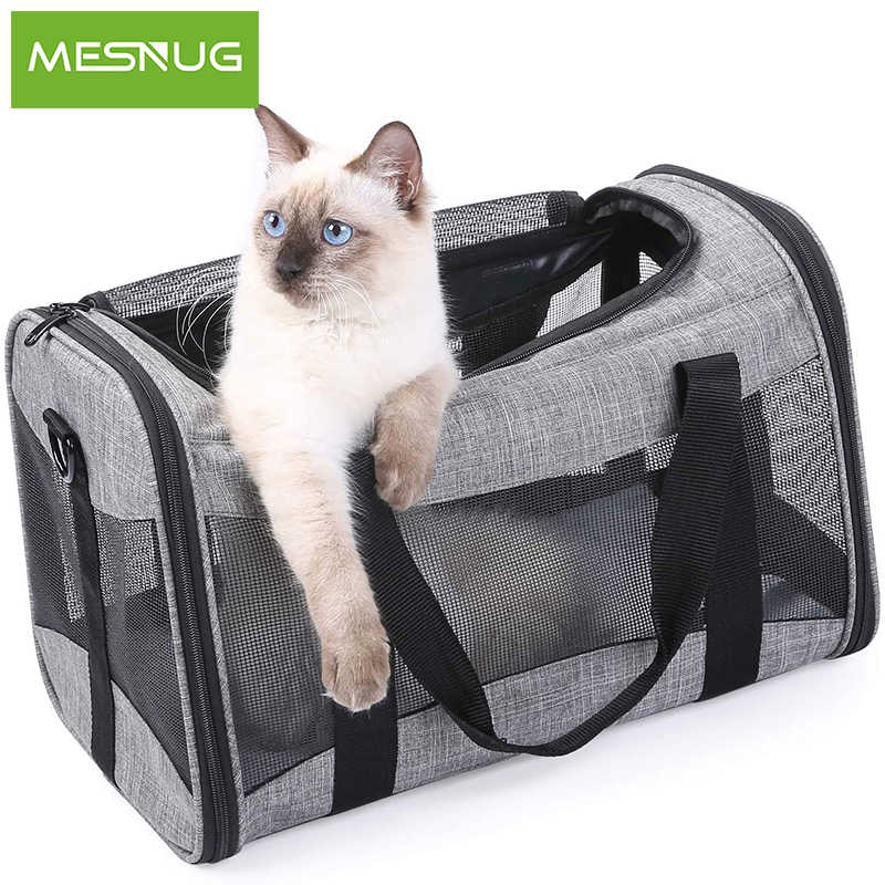 MESNUG Durable Cat Carrier Collapsible Waterproof Safety Locking Zipper Mesh Window Travel Pet Bag For Kitten Puppies
