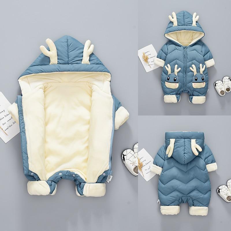 Infant Kid Baby Girls Boys Jumpsuit Bear Winter Zip Thick Snowsuit Hoodie Coat
