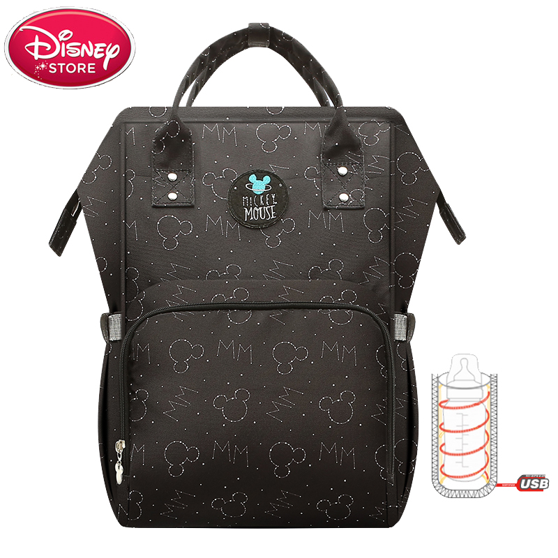 Disney Diaper Bags USB Bottle Insulation Bag Mummy Maternity Nappy Thermal Baby Feeding Minnie Mickey Oxford Backpack Handbag