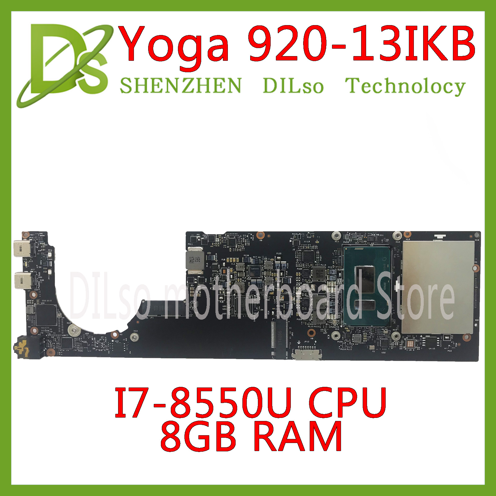 KEFU DYG60 NM-B291 For Lenovo Yoga920 Yoga 920-13IKB Laptop Motherboard 5B20Q09639 I7-8550U 8GB RAM 100% Tested Original Work