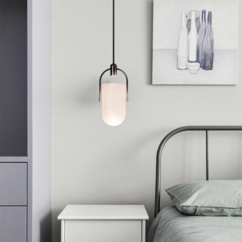 Modern LED Glass Bucket Pendant Lights Lighting Retro Loft Decor Pendant Lamp Living Room Restaurant Bedroom Bedside Luminaire