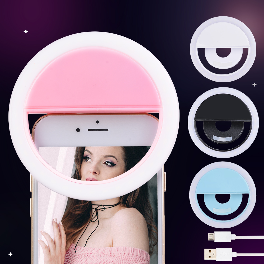 Portable LED Selfie Ring Light For Iphone Lighting Night Darkness Photography Ring Clip Selfie Ring All Smartphone Fill Light