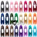 HSIU 100 см длинные прямые Косплэй парика, устойчивая к высоким температурам синтетические волосы Аниме вечерние парики 42 цвет красочная по сн...