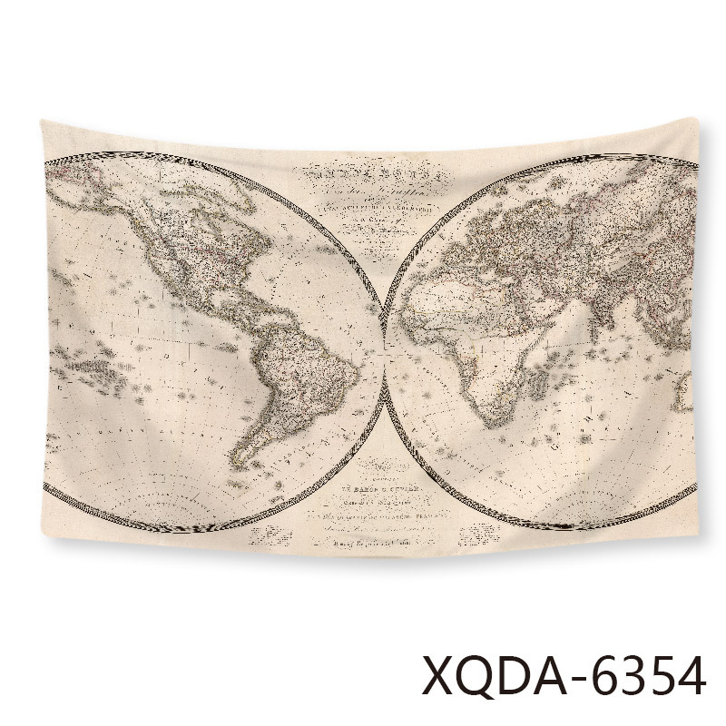 150*200cm New Creative Ins Style Tapestry Digital Printing World Map Modeling Horizontal Wall Decoration