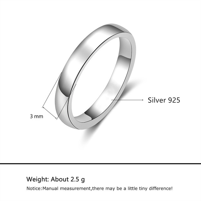 925 Sterling Silver Women Rings Simple Stackable Ring Silver 925 Finger Ring Wedding Engagement Jewelry Gifts (Lam Hub Fong) 2