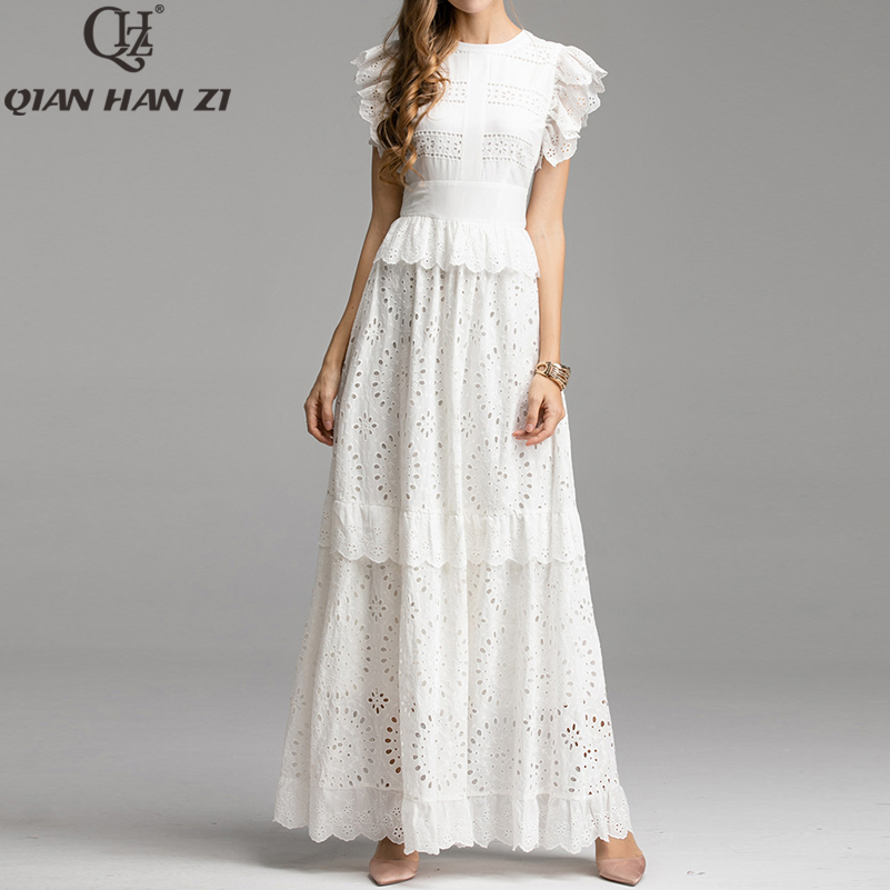 Qian Han Zi 2019 Autumn Elegant Solid Maxi Long Dress Women's Ruffles Sleeve Front Self Belted Cotton Formal Party Dresses Gown