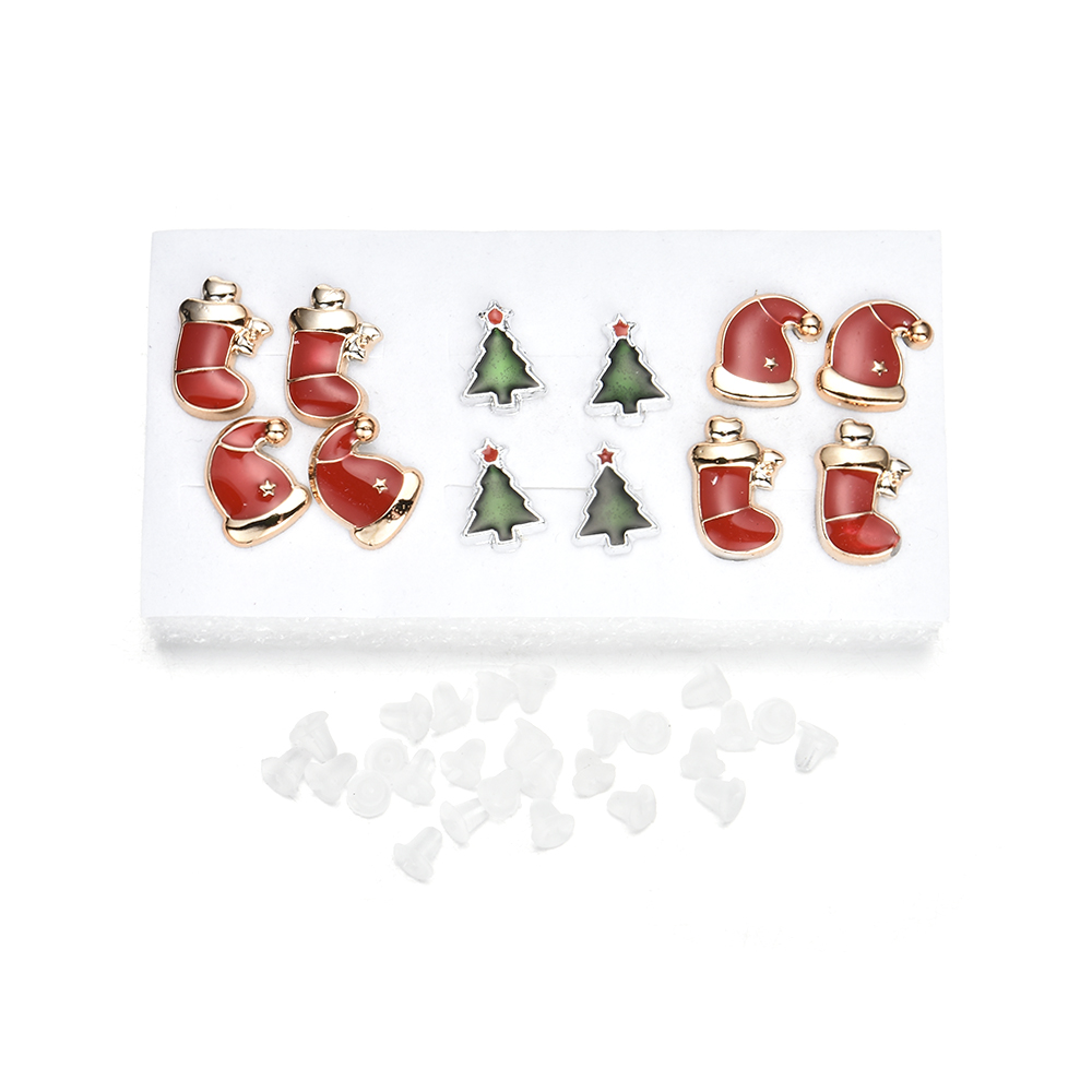 fashion romantic Cute Simple Sweet Christmas stocking,hat,tree Ear Plastic Stud Earrings Jewelry best Gift for children