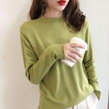 Повседневный однотонный пуловер с круглым вырезом и длинными