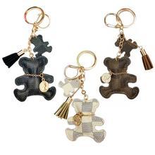 2020 New Cute Tassel Faux Leather Bear Keychain Key Ring Women Backpack Ornament Gift Key Chain
