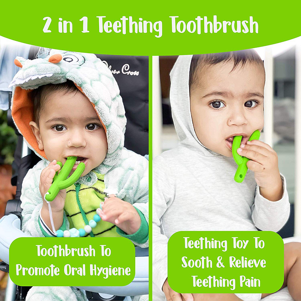 3-36M Baby Teething Toothbrush Toys With Cactus Design For Kids Training Cactus Teething Toy With Soft Silicone