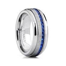 цена 2019 Titanium steel Rings for Men Ring Blue Zircon Simple Band Rings Jewelry Accessories онлайн в 2017 году