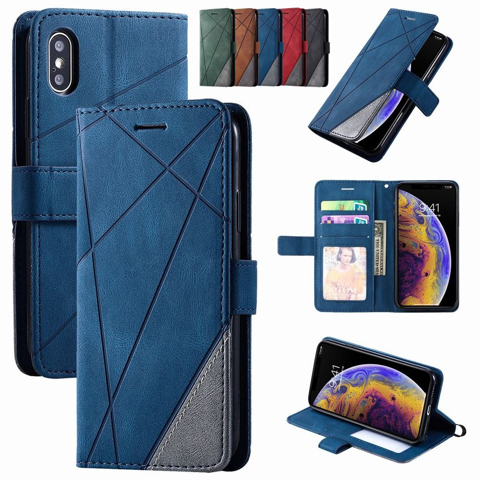 Stand Business Phone Holster For Samsung Galaxy A51 A71 A81 A91 A520 A5 2017 A7 2018 A750 A70S Stripe Wallet Rhombus Case D21G