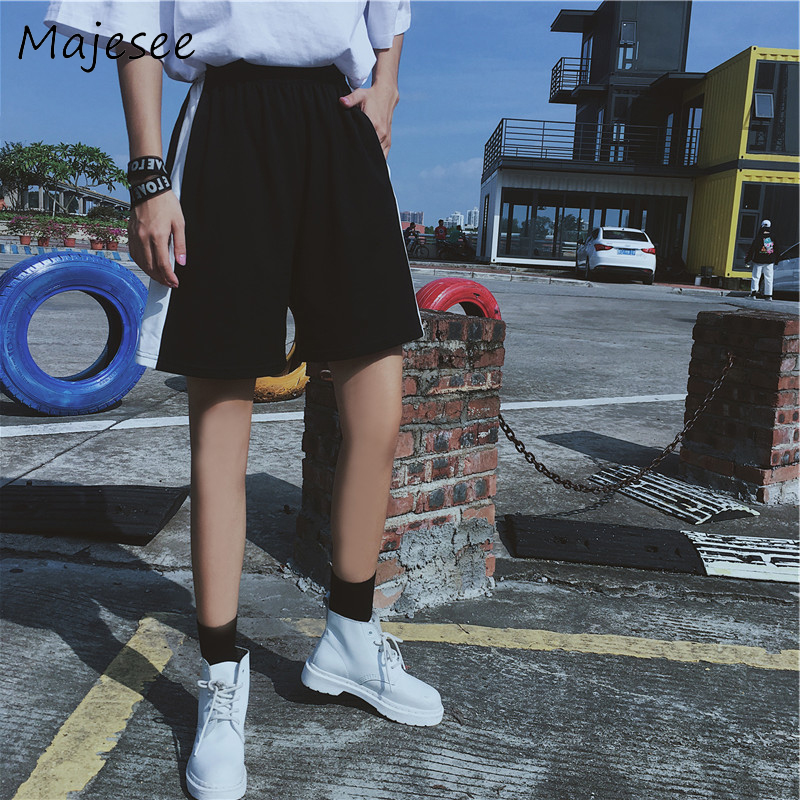 Harajuku Bf Korean Style Couple Shorts High Waist School Students Women Causal Loose Womens Trendy Solid Color Pockets Daily