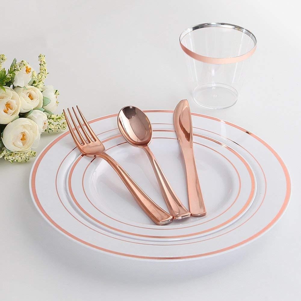 ROSE GOLD Oval Wedding Disposable Plastic Plates /& silverware Set Dinner