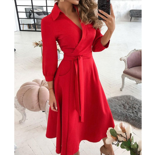 New Fashion Women Casual V Neck Long Dresses Chic Geo Pattern Graphic Print Pocket Design Wrap Dress 6