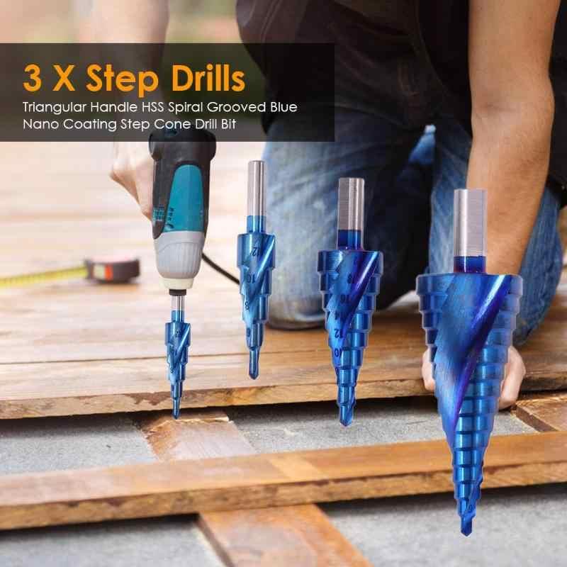 HSS A Spirale Step Drill Svasata Punta del trapano Titanio Rivestito per Ridurre L'attrito e Heatat Lavorazione Del Legno Smusso Tapper Strumento