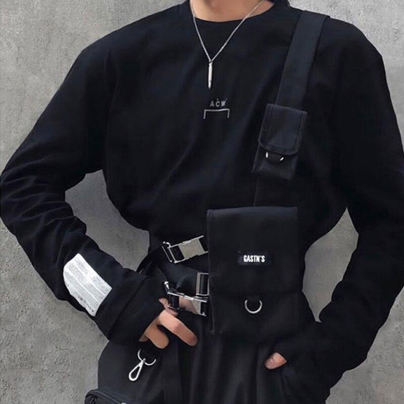 Tactical Vest Streetwear Bag For Men Hip Hop Chest Rig Waist Bag Adjustable Multiple Pockets Canvas Men's Waist Pack Chest Bags