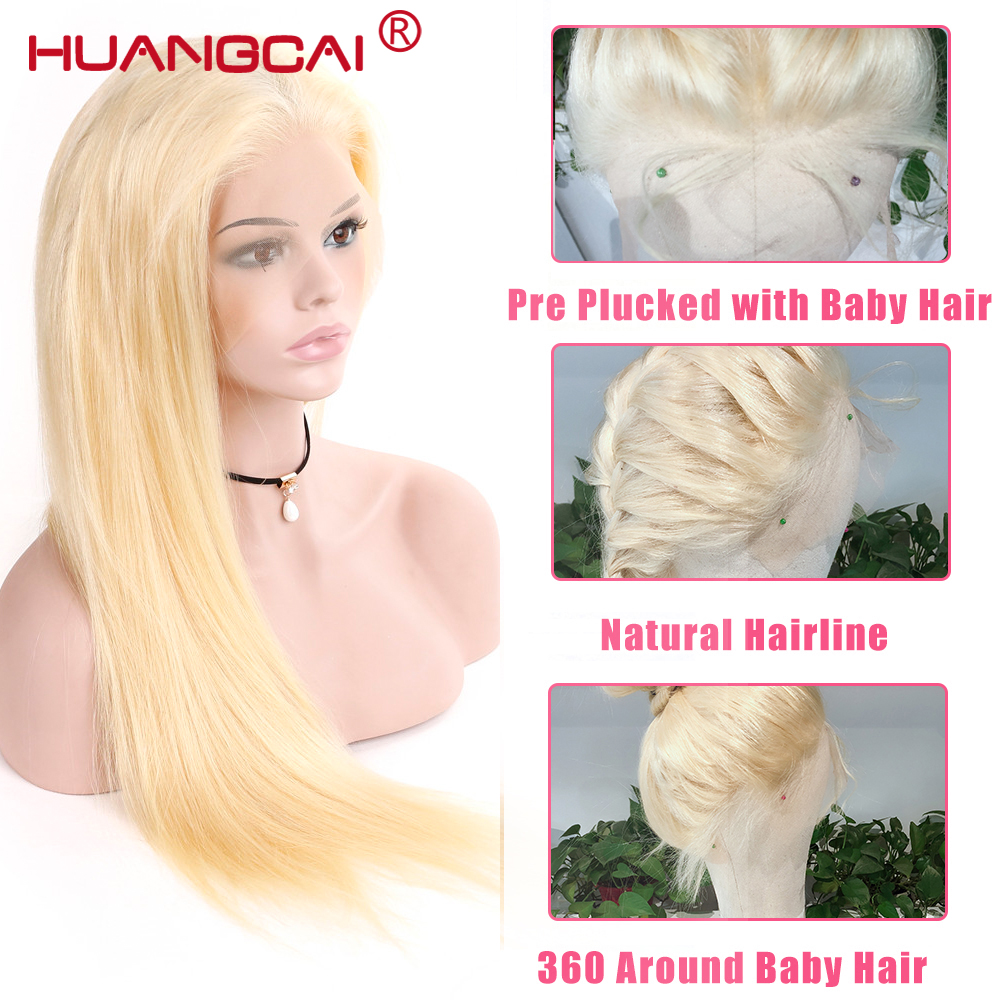 Straight 613 Blond Full Lace Human Hair Wigs Remy Brazilian Wig With Baby Hair Pre Plucked 150 Glueless Full Lace Wig in Human Hair Lace Wigs from Hair Extensions Wigs