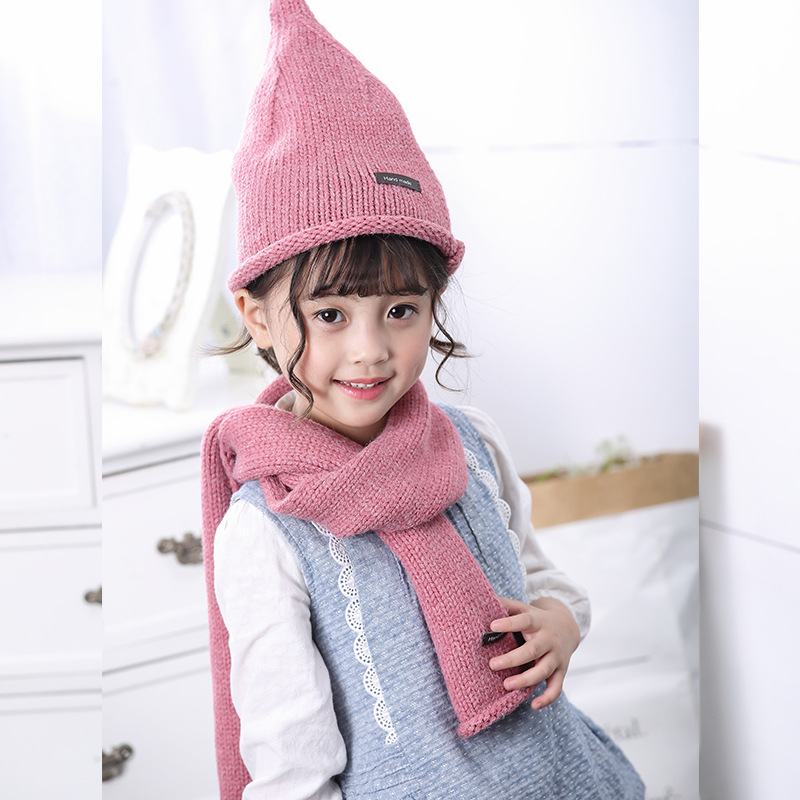 Korean-style CHILDREN'S Scarf Hat Two-Piece Set Solid Color Wool Blended Baby Knitted Scarf Autumn And Winter Warm Wool Cap