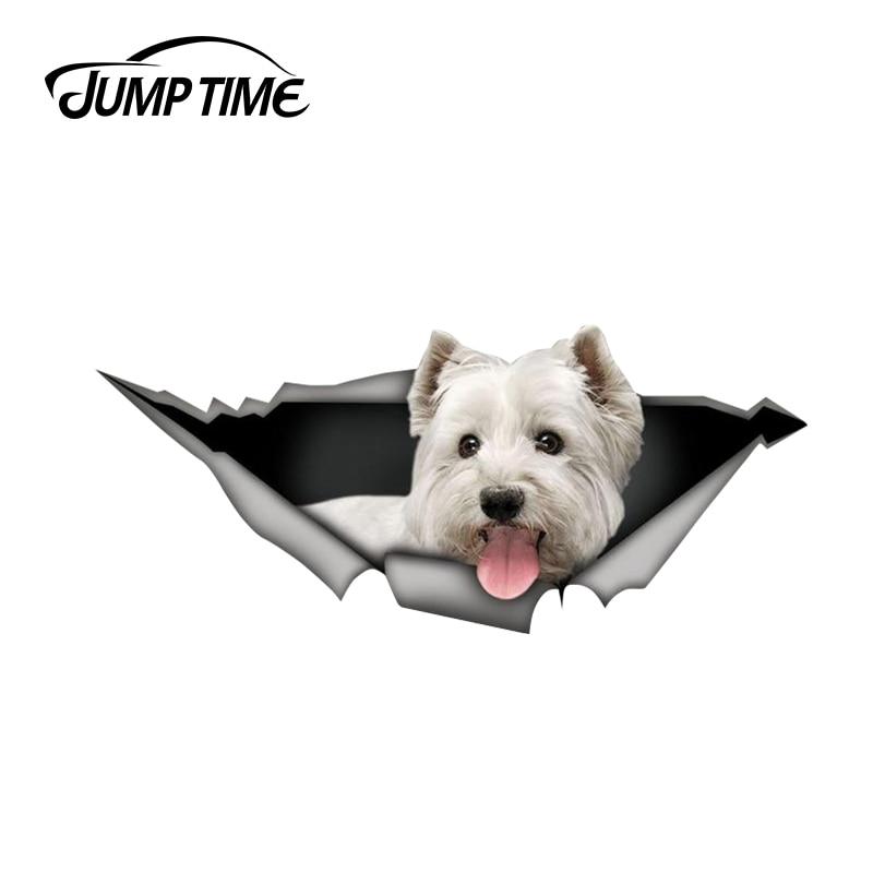 Salto di Tempo di 13 centimetri x 5.7 centimetri West Highland White Terrier adesivo auto 3D Pet Grafica Del Vinile Decalcomania Della Finestra di Automobile del computer portatile Paraurti Adesivi Per Auto