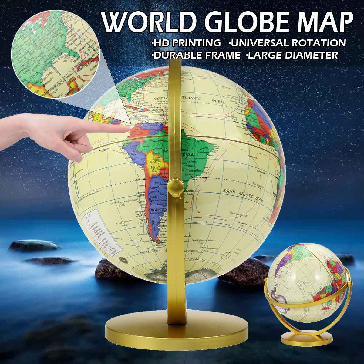 25CM Large World Globe Earth Map Teach Education Geography Toy Terrestrial Tellurion Globe With Stand Home Office Desk Decor