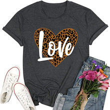 Women's T-Shirt Summer for Short-Sleeve Loose-Top O-Neck Printing Leopard Printing