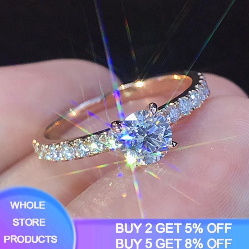 Rose Gold Color Lab Diamond Ring for Women Luxury Anillos Wedding Bizuteria Fashion Jewelry Gemstone White Topaz 925 Silver Ring(China)