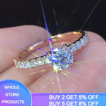 Rose Gold Color Lab Diamond Ring for Women Luxury Anillos Wedding Bizuteria Fashion Jewelry Gemstone White Topaz 925 Silver Ring 925 sliver jewelry diamond ring for women anillos de wedding engagement bizuteria gemstone white topaz s925 silver ring with box