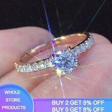 Rose Gold Color Lab Diamond Ring for Women Luxury Anillos Wedding Bizuteria Fashion Jewelry Gemstone White Topaz 925 Silver Ring