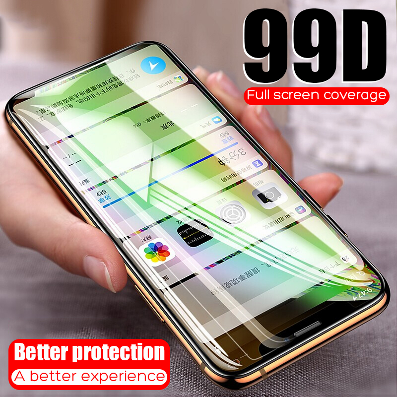 99D Protective Tempered Glass On The For iPhone 6 6s 7 8 Plus X Glass Screen Protector Soft Edge Curved For iPhone X XS MAX XR-in Phone Screen Protectors from Cellphones & Telecommunications