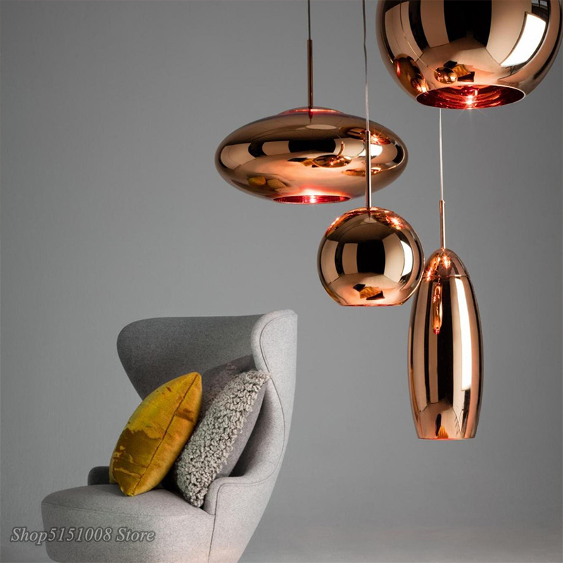 LED  Copper Glass Pendant Lamps Wide Mirror Ball Pendant Lights For Living Room Bedroom Industrial Lamp Home Decor Fixtures