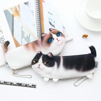 Creativity Big Capacity Three-legged Cat Pencil Case Cute Cartoon Personality Creativity Mobile Phone Bag Girls Storage Bag фото