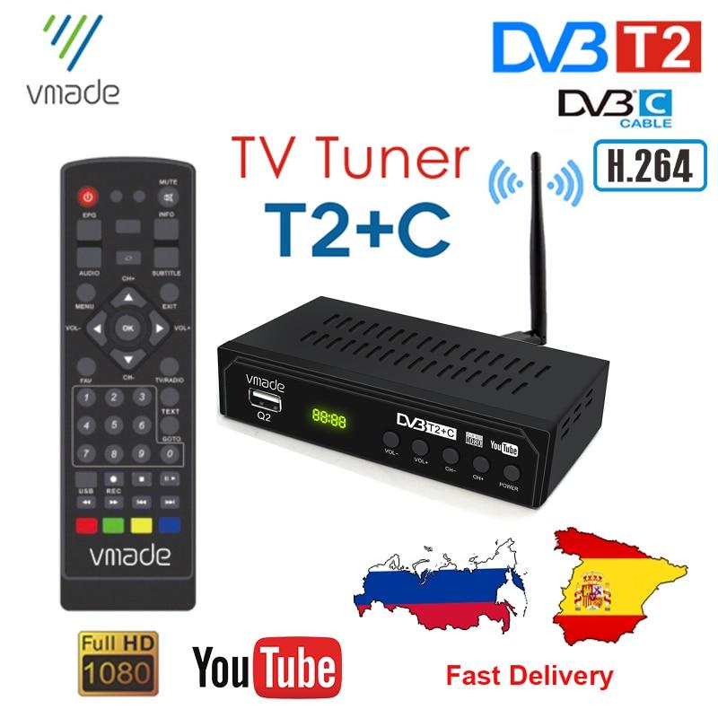 Dvb t2 DVB-C sintonizador de tv digital receptor de tv terrestre h.264 hd decodificador mpeg4 suporte youtube espanha rússia conjunto caixa superior