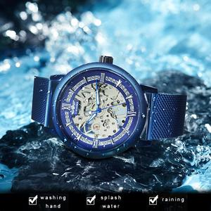 Image 3 - WINNER Official Mechanical Watch Men Blue Silver Mesh Strap Super Thin Case Skeleton Top Brand Luxury Classic Business Elegant