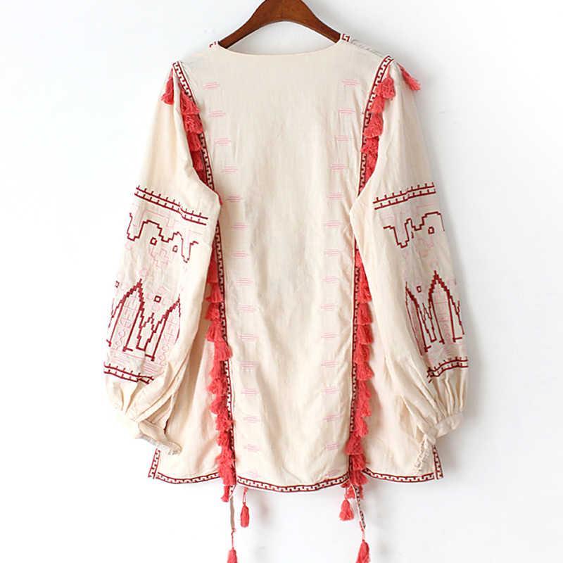 Khale Yose ฤดูร้อน Boho Chic ผู้หญิงเสื้อและเสื้อหลวมเย็บปักถักร้อยเสื้อผ้าฝ้าย Tassles Hippie Ethnic GYPSY เสื้อ 2020