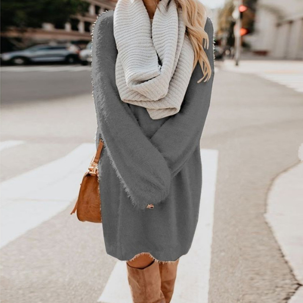 Women Sweater Dresses Casual Winter Thick Knit Turtleneck Warm Long Sleeve Pocket Pullovers Sexy Mini Sweater Dress