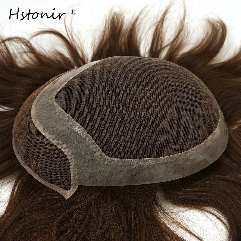 Hstonir Real Man Toupee Remy Hair Human Hairpiece Swiss Lace With Clear Poly Around Free Shipping Toupee H040