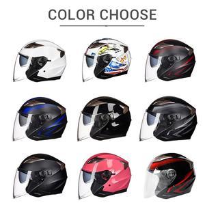 Image 5 - GXT casco de moto cara abierta visores de doble lente casco de motocicleta casco bicicleta eléctrica hombres mujeres verano Scooter moto casco