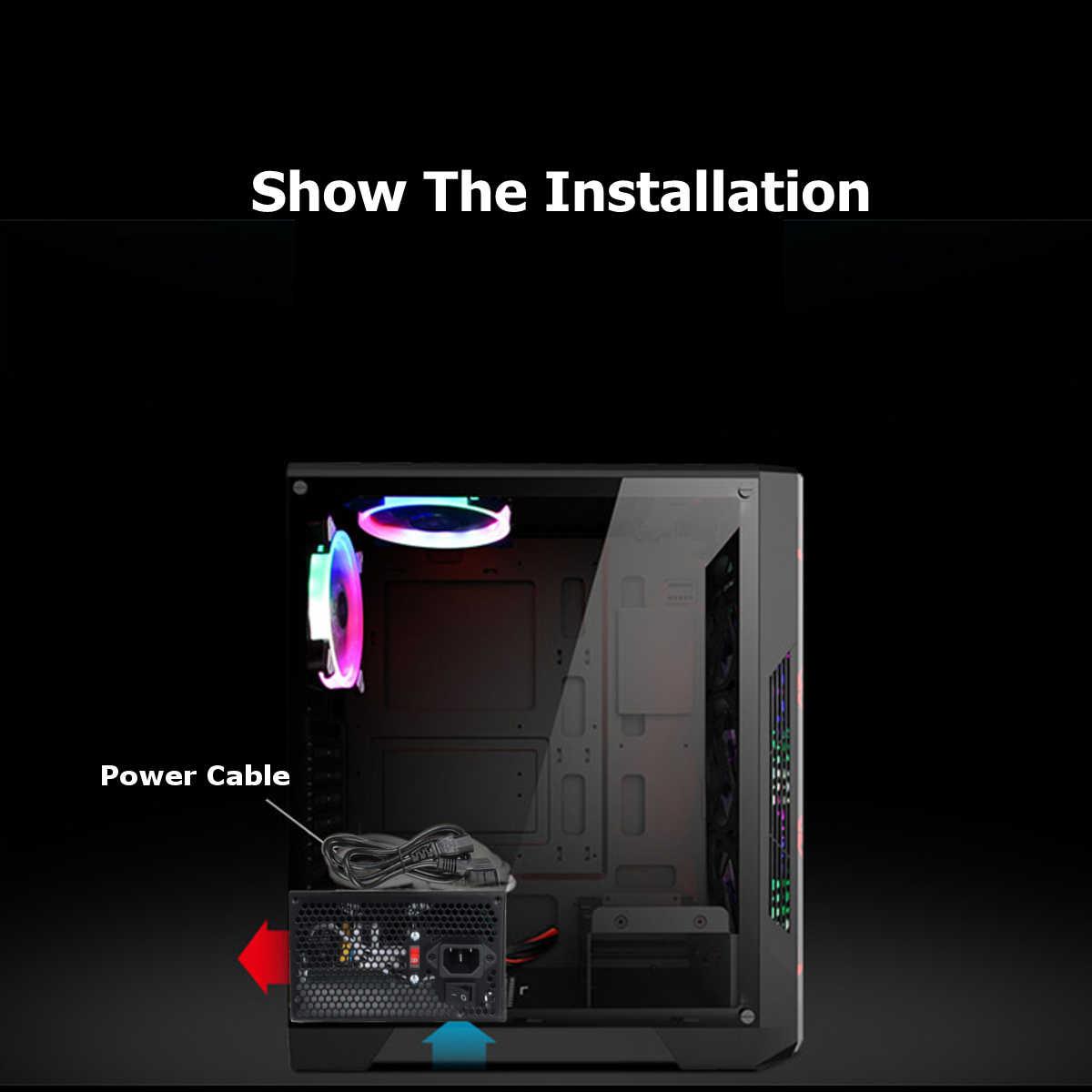 MAX 600W zasilacz 12cm wielokolorowe oświetlenie LED wentylator pasywny PFC cichy wentylator ATX 24 pin 12V komputer stancjonarny SATA komputer do gier zasilacz