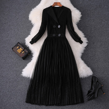 New 2019 Autumn Dress Woman Clothes Fashion Designer Full Sleeve Hollow Out Lace Patchwork Mid Calf Party Dresses Black Xxl Size