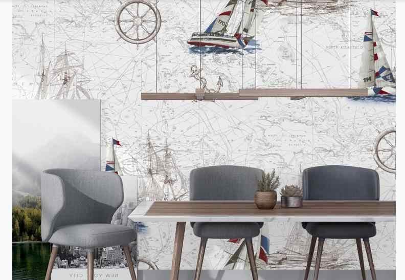 Papier peint 3D peintures murales personnalisé bateau papier peint pour murs 3 D canapé salon chambre TV toile de fond murs