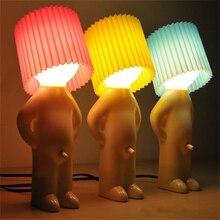 ילד שובב Mr. P קצת ביישן איש יצירתי מנורת לילה אורות חדר שינה שולחן מנורת עבור עיצוב הבית זוג נחמד מתנה לטובת צד