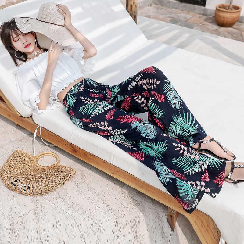 الأزهار طباعة بنطال ذو قصة أرجل واسعة النساء طويلة سراويل تقليدية الصيف بوهو شاطئ مطاطا السراويل السفر عطلة المهنة تايلاند هاواي