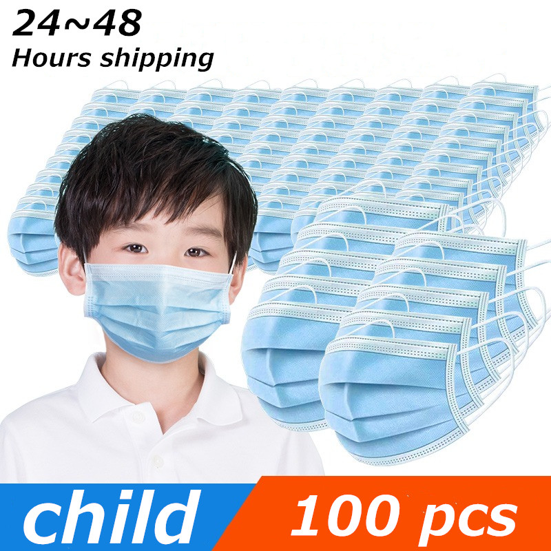 Child Mouth Face Anti Virus Mask Disposable Protective Mask 3 Layers Filter Dustproof PM2.5 Non Woven Non-medical Mouth Masks