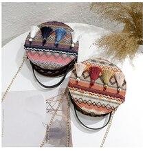 Тканые Crossbody сумки для женщин кошельки и сумки мода плед шерстяной плечо сумка женская небольшие круглые