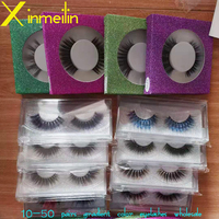 50 pairs New 9D faux color mink lashes wholesale natural long fluffy individual colorful false eyelashes Makeup Extension Tools