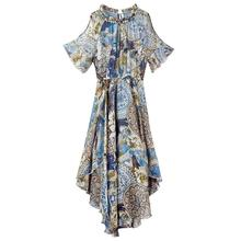 2019 New Woman Summer Mid-length Chiffon Waisted Off-shoulder Bohemian Elegant Charming Casual Dress