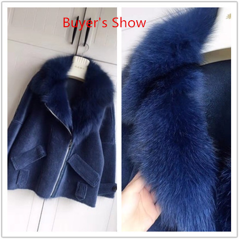 Coat Fur Real Female Sheep Shearling Fur Winter Jacket Women Fox Fur Collar 100% Wool Coat Suede Leather Jackets MY3841 S